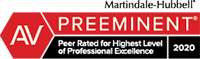 AV Preeminent | Peer Rated for Highest Level of Professional Excellence | 2019 | Martindale-Hubbell